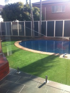 Frameless pool glass fence installation